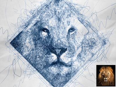 Scribbled Lion #2 automatic scribbles scribble art scribble automatic effect drawing illustration pen sketch sketch sketchapp photo effect photoshop action digital art plugins