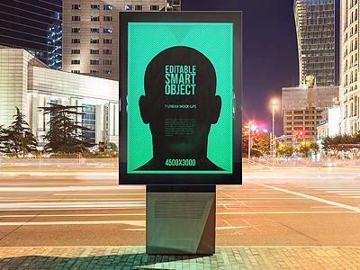 Urban Flyer / Poster / Billboard Mock-ups - Night Edition mock-up mockup mockups template showcase image artwork advertising print photorealistic city branding