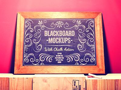 Blackboard Chalkboard Mock Ups With Chalk Action chalk sketch design logo mockups effect text chalk board black board hand drawn mock up smartobject