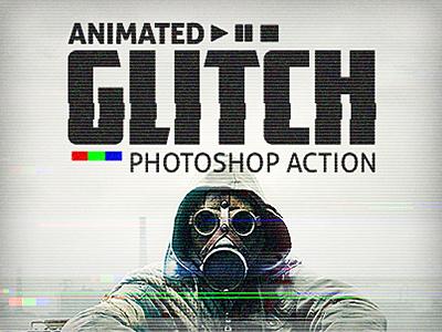 Animated Glitch - Photoshop Action effect photo distortion disturb retro animation rgb interference glitch timeline video gif