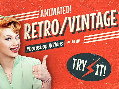 Animated Retro Vintage Film - Photoshop Actions style loop movie gif video tv effect logo photo vintage hipster