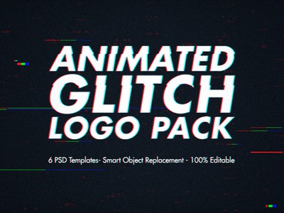 Animated Glitch Logo Pack - Photoshop Templates video gif banner mockup glitches effect titles timeline animation opener