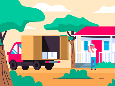 Good Delivery vector happy drive illustrator truck three branch house delivey