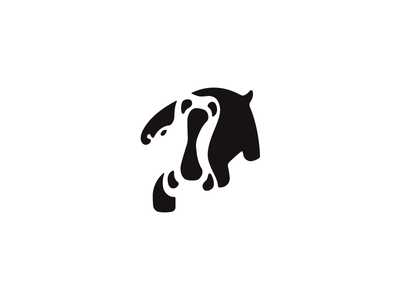 Hippopotamus black beast simple negative logo hippopotamus animal