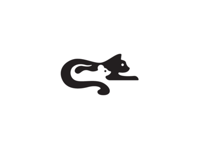 Negative Cat x Mouse symbol space mark logotypes logo illustration identity design mouse negative cat