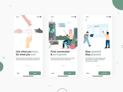 Give - Volunteer app concept ux ui flat design illustration vector app illustrator