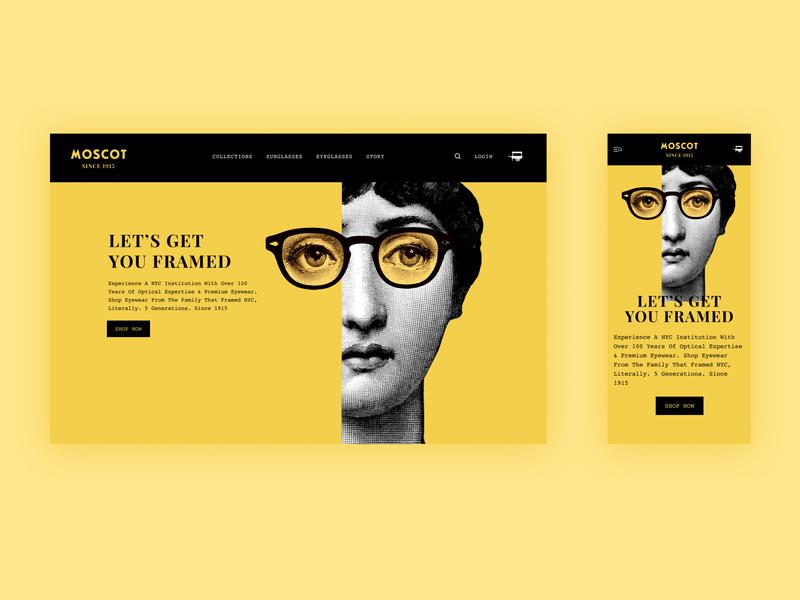 Responsive landing page for Moscot eyewear design app minimal flat art responsive web design responsive design branding