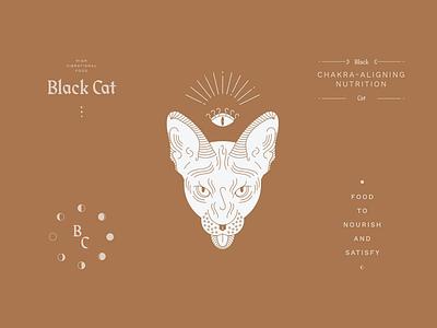 Black Cat sphynx all seeing eye food industry vector illustration branding witches cat restaurant identity logo design logo