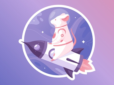 S P A C E R A T holographic foil illustration outerspace rocket rocketship sticker space sticker space rat astronaut planet space rat holographic