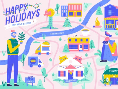 family holiday card holiday card character food truck christmas postcard holiday home cat knoxville illustration