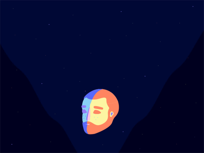 Waking up outerspace waking up sleeping character person space planet clouds head city man animation illustration