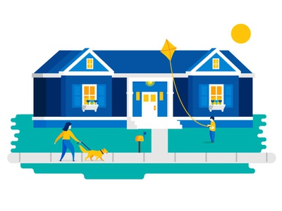Happy Family character person house kite dog family illustration home