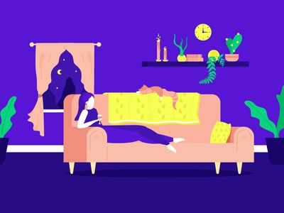 Cozy dark illustration curtains pillows couch plants cozy girl cat wine