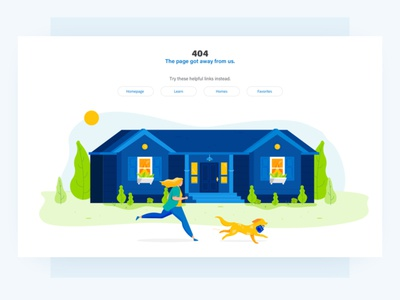 404 Page purse woman running dog home