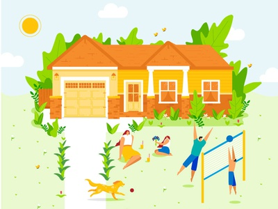 Family Summer butterflies characters illustration home family volleyball yard summer