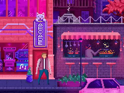 A pixel city illustration arcade city pixel art