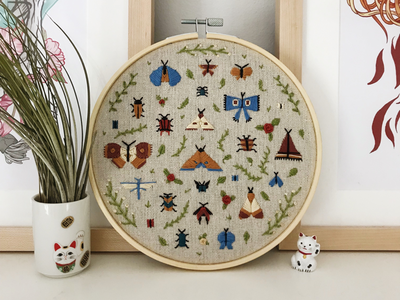 Bugs and leaves embroidery beetles butterfly leaves insects embroidery