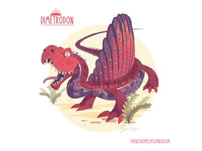 Dimetrodon art design dinosaur illustration book