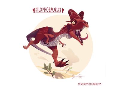 Dilophosaurus art design illustration dinosaur book