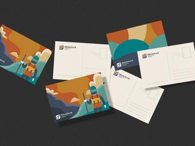 Go Adventure Postcards postcard hiking travel adventure illustration logo branding