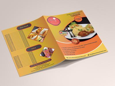 restaurant  menu card front back
