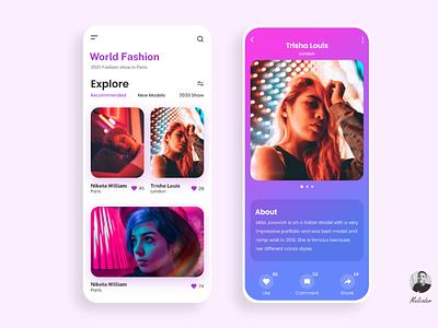 Fashion Models App paris app xd design ui design fashion