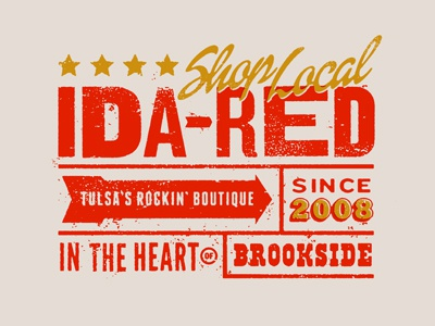 Ida Red letterpress poster boutique woodtype tulsa oklahoma local lettering vintage distressed