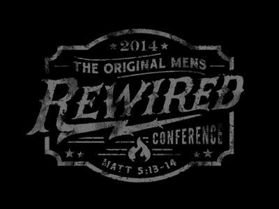 ReWried apparel merch rewired conference vintage distressed shield lockup