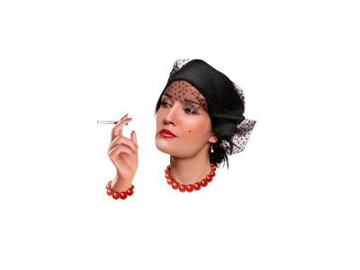 Smoking Lady illustration hat head jti icon woman cigarette 50s people veil hand charm