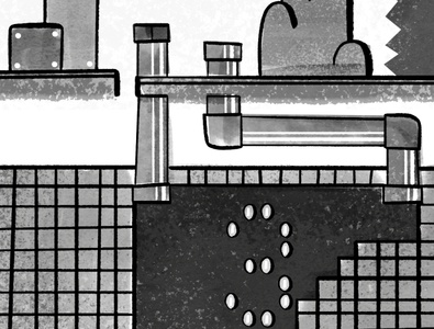 (Detail) Pen and ink Super Mario Bros. 3 world 1-1 map