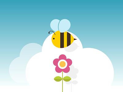 Springtime Bee muse comunicazione icon logo vector illustration flower bee spring springtime