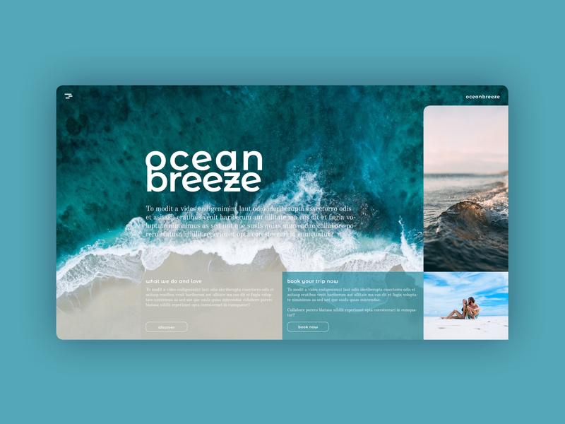UI Design for a webiste called ocean breeze watercolour blue beach ocean life web design webdesign ui design uidesign ui