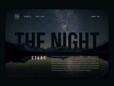 THE NIGHT - A start screen for a website graphicdesign ui ui design typogaphy photography screendesign webdesign