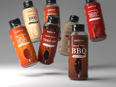 Product Design of a vegan sauces product design product rendering blender3d 3d art 3d typography branding photography graphicdesign design