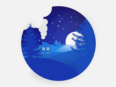 Winterlandspace landscape illustration blue illustration art vector illustration graphicdesign design