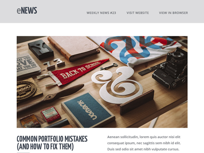 eNews - Responsive Email + Builder Access email newsletter clean flat psd web business website ui photoshop hypster design