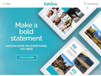 Kahuna - Giant Multipurpose Email + Builder Access website web ui psd photoshop newsletter multipurpose flat email design clean business