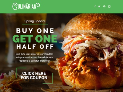 Culinarian - Multipurpose Restaurant Email + Builder Access website web ui food photoshop newsletter multipurpose flat email design clean business