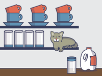 Can I Have Some? kitty silly digital illustration cat meow milk kitchen