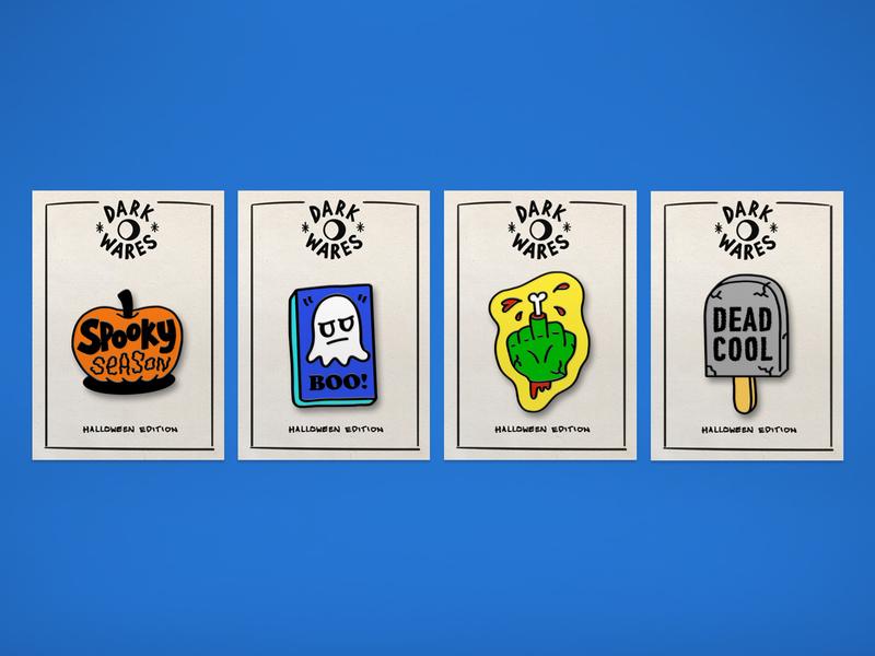 Spooky Pin Badges logo lettering hand lettering typography illustration branding design halloween