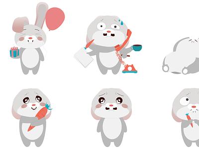 Stikers rabbit rabbit sticker illustration design art