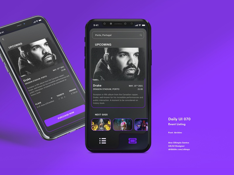Event Listing #070 DailyUi Challenge scorpio hiphop rap singer drake event listing dailyui070 event interface design dailyuichallenge xd gradient dailyui appdesign app uidesign interfacedesign