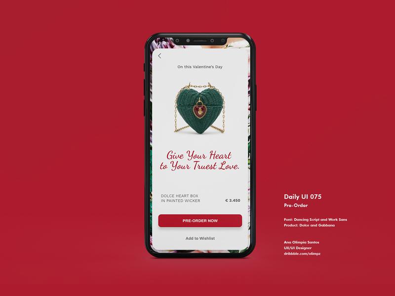 Pre-Order #075 DailyUi Challenge bag dolceandgabbana preorder dailyui075 ui design dailyuichallenge xd app gradient dailyui appdesign uidesign interfacedesign