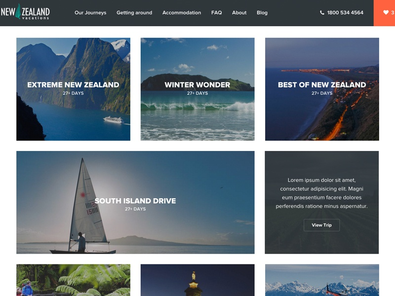 New Zealand Vacations - Our Journeys json api react craftcms