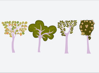 Sri Lankan Temple Painting inspired tree illustrations