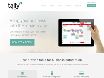 tally24 early stage design product shot webdesign homepage splash