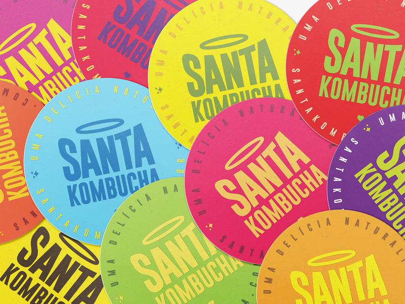 Santa Kombucha Coasters identity design design logo brand identity identity branding company coaster beverage kombucha graphic design logo design branding kombucha branding