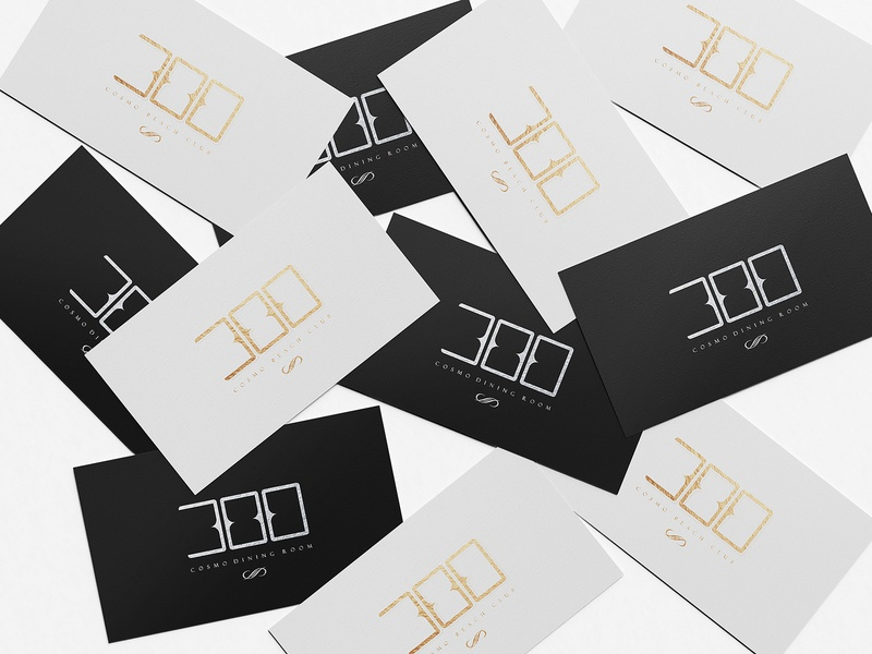Branding for 300 Cosmo Dining Room brand identity graphic design logo logo design visual identity identity design restaurant branding restaurant business card design business cards logotype logodesign graphicdesign branding 300 cosmo beach club 300 cosmo dining room