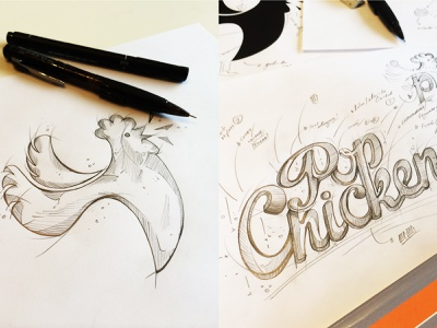 Sketches / PopChicken Brand Development wip identity design pop chicken popchicken branding identity fastfood handlettering logotipo chicken logo drawing handmade logotype logo mark logodesign logo lettering chicken sketching logo process
