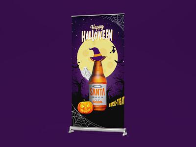 Roll-Up Banner / Halloween Santa Kombucha pumkin flyer art design advertising bottle purple art roll-up rollup banner kombucha santa kombucha halloween